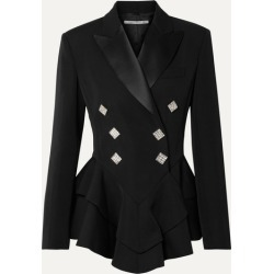 Alessandra Rich - Crystal-embellished Satin-trimmed Wool-crepe Peplum Blazer - Black found on MODAPINS from NET-A-PORTER for USD $1495.00