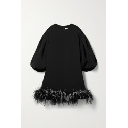 Huishan Zhang - Poppy Feather-trimmed Crepe Mini Dress - Black found on MODAPINS from NET-A-PORTER UK for USD $2339.35