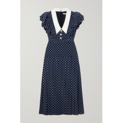 Alessandra Rich - Button-embellished Ruffled Polka-dot Silk Midi Dress - Navy found on MODAPINS from NET-A-PORTER for USD $1960.00