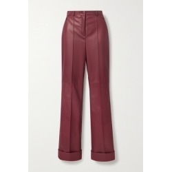 Akris - Leather Straight-leg Pants - Burgundy found on MODAPINS from NET-A-PORTER for USD $4990.00