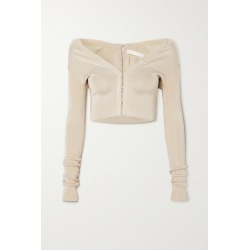 Dion Lee - Cropped Stretch-knit Cardigan - Ecru found on MODAPINS from NET-A-PORTER UK for USD $705.60