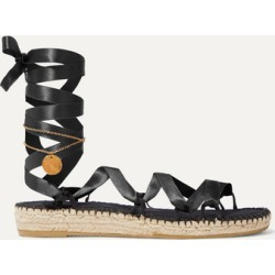 Alighieri - Lion And Pearl Embellished Satin Espadrilles - Black found on MODAPINS from NET-A-PORTER for USD $210.00