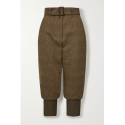 Purdey - Cropped Belted Cotton-trimmed Checked Wool-tweed Tapered Pants - Army green found on Bargain Bro UK from NET-A-PORTER UK