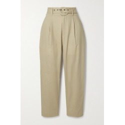 Anine Bing - Elyse Belted Linen And Cotton-blend Straight-leg Pants - Beige found on MODAPINS from NET-A-PORTER for USD $150.00