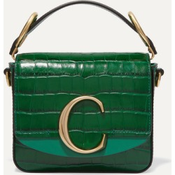 Chloé - Chloé C Mini Suede-trimmed Croc-effect Leather Shoulder Bag - Green found on Bargain Bro UK from NET-A-PORTER UK