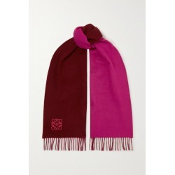 Loewe - Anagram Embroidered Fringed Two-tone Wool And Cashmere-blend Scarf - Burgundy found on Bargain Bro Philippines from NET-A-PORTER for $350.00