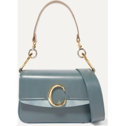 Chloé - Chloé C Small Suede-trimmed Leather Shoulder Bag - Blue found on Bargain Bro UK from NET-A-PORTER UK