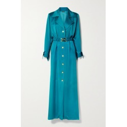 Dodo Bar Or - Tamara Belted Satin Maxi Shirt Dress - Teal found on MODAPINS from NET-A-PORTER for USD $276.00