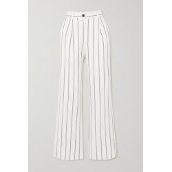 Anine Bing - Ryan Striped Herringbone-jacquard Straight-leg Pants - Off-white found on MODAPINS from NET-A-PORTER for USD $250.00