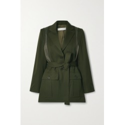 JW Anderson - Belted Patchwork Wool And Twill Jacket - Dark green found on MODAPINS from NET-A-PORTER for USD $1175.00