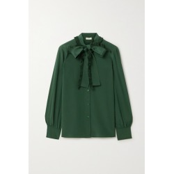 Tory Burch - Pussy-bow Fringed Silk Crepe De Chine Shirt - Emerald found on Bargain Bro UK from NET-A-PORTER UK