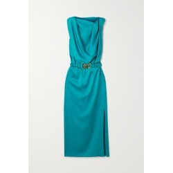 Dodo Bar Or - Orian Belted Draped Satin Midi Dress - Teal found on MODAPINS from NET-A-PORTER UK for USD $704.75