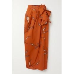 Johanna Ortiz - Copper Eco Warrior Printed Cotton Wrap Skirt - Orange found on MODAPINS from NET-A-PORTER for USD $525.00
