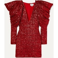 Redemption - Draped Sequined Chiffon Mini Dress