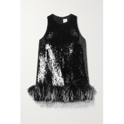 Huishan Zhang - Coral Feather-trimmed Sequined Tulle Top - Black found on MODAPINS from NET-A-PORTER UK for USD $949.82