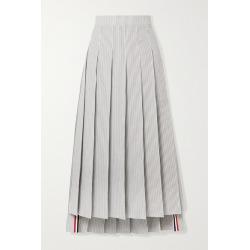 Thom Browne - Pleated Grosgrain-trimmed Striped Cotton-seersucker Midi Skirt - White found on Bargain Bro UK from NET-A-PORTER UK
