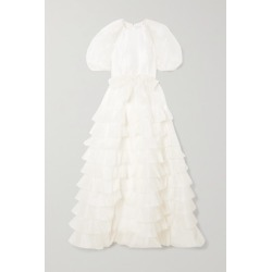 Huishan Zhang - April Belted Ruffled Tiered Silk-organza Gown - White found on MODAPINS from NET-A-PORTER UK for USD $2066.77