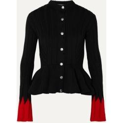 Alexander McQueen - Ribbed Wool-blend Peplum Cardigan - Black found on MODAPINS from NET-A-PORTER UK for USD $1378.49