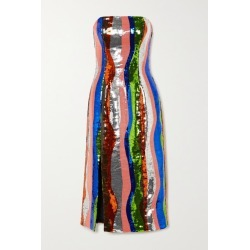 Halpern - Strapless Striped Sequined Satin Midi Dress - Pink found on MODAPINS from NET-A-PORTER UK for USD $1913.81