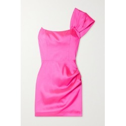 De La Vali - Maggie One-shoulder Ruched Satin Mini Dress - Bright pink found on MODAPINS from NET-A-PORTER UK for USD $573.04