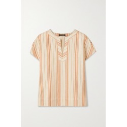 Loro Piana - Striped Cotton-blend Top - Coral found on MODAPINS from NET-A-PORTER for USD $1050.00