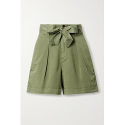 Alex Mill - Expedition Belted Pleated Cotton-blend Poplin Shorts - Green found on MODAPINS from NET-A-PORTER for USD $77.00