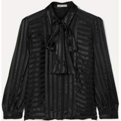 Alice Olivia - Willis Pussy-bow Striped Jacquard Blouse - Black found on MODAPINS from NET-A-PORTER for USD $295.00