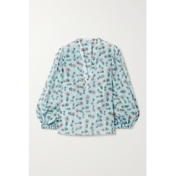 Alice Olivia - Raya Floral-print Cotton And Silk-blend Chiffon Blouse - Light blue found on MODAPINS from NET-A-PORTER for USD $198.00