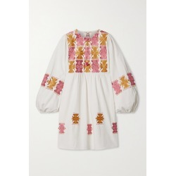 Figue - Lucie Embroidered Cotton Mini Dress - Ivory found on MODAPINS from NET-A-PORTER UK for USD $632.91