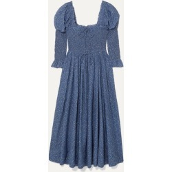 DÔEN - Bijou Smocked Floral-print Cotton-blend Dress - Blue found on Bargain Bro Philippines from NET-A-PORTER for $325.00