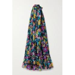 SAINT LAURENT - Tie-neck Floral-print Silk-chiffon Maxi Dress - Black found on Bargain Bro UK from NET-A-PORTER UK