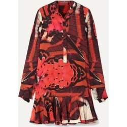 Alexander McQueen - Fluted Printed Silk Crepe De Chine Mini Dress - Red found on MODAPINS from NET-A-PORTER UK for USD $2253.43