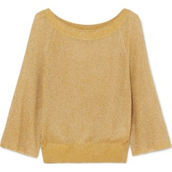 Alice Olivia - Nakita Ribbed Lurex Sweater - Gold found on MODAPINS from NET-A-PORTER for USD $192.00