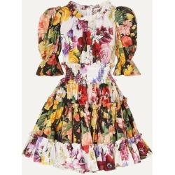 Dolce & Gabbana - Ruffled Floral-print Cotton-poplin Mini Dress - White found on Bargain Bro India from NET-A-PORTER for $1291.50