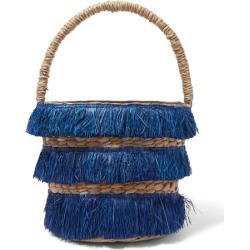 Kayu - Lolita Mini Fringed Woven Straw Tote - Navy found on MODAPINS from NET-A-PORTER UK for USD $127.07