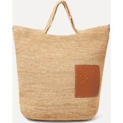 Loewe - Slit Leather-trimmed Woven Raffia Tote - Sand found on Bargain Bro UK from NET-A-PORTER UK