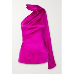 Adam Lippes - One-shoulder Draped Silk-charmeuse Top - Magenta found on MODAPINS from NET-A-PORTER UK for USD $1222.30