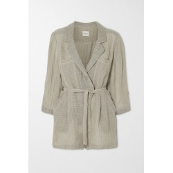 Le Kasha - Belted Wrap-effect Linen Playsuit - Taupe found on MODAPINS from NET-A-PORTER for USD $750.00