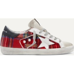 Golden Goose - Superstar Tartan Flannel And Distressed Leather Sneakers - Red found on Bargain Bro UK from NET-A-PORTER UK