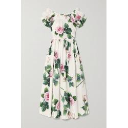 Dolce & Gabbana - Ruffled Floral-print Cotton-poplin Midi Dress - White found on Bargain Bro India from NET-A-PORTER for $1995.00