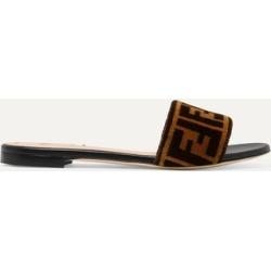 Fendi - Logo-print Velvet Slides - Brown found on Bargain Bro Philippines from NET-A-PORTER for $650.00