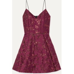 Alice Olivia - Anette Pleated Metallic Jacquard Mini Dress - Burgundy found on MODAPINS from NET-A-PORTER for USD $440.00