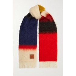 Loewe - Leather-trimmed Fringed Color-block Mohair-blend Scarf - Red found on Bargain Bro UK from NET-A-PORTER UK