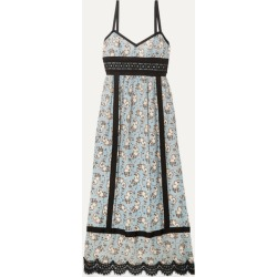 Anna Sui - Corded Lace And Grosgrain-trimmed Printed Silk-chiffon Midi Dress - Light blue found on MODAPINS from NET-A-PORTER for USD $413.00