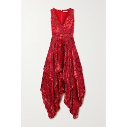 Alice Olivia - Sammi Asymmetric Fil Coupé Chiffon Dress - Red found on MODAPINS from NET-A-PORTER for USD $450.00