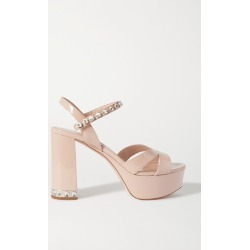 Miu Miu - Crystal-embellished Patent-leather Platform Sandals - Neutral found on MODAPINS from NET-A-PORTER UK for USD $1121.03