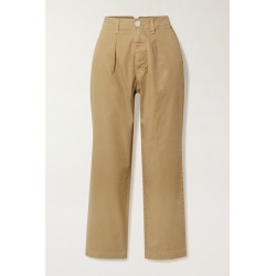 Alex Mill - Cropped Pleated Cotton-blend Twill Straight-leg Pants - Beige found on MODAPINS from NET-A-PORTER UK for USD $120.30