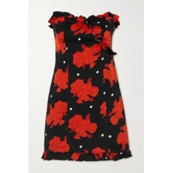 De La Vali - Dolly Strapless Ruffled Floral-print Crepe Mini Dress - Black found on MODAPINS from NET-A-PORTER for USD $520.00