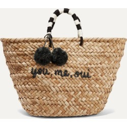 Kayu - St Tropez Pompom-embellished Woven Straw Tote - Beige found on MODAPINS from NET-A-PORTER UK for USD $200.21