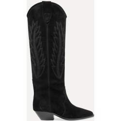 Isabel Marant - Denzy Embroidered Suede Knee Boots - Black found on Bargain Bro UK from NET-A-PORTER UK